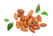 Almonds With Leaves Isolated O...