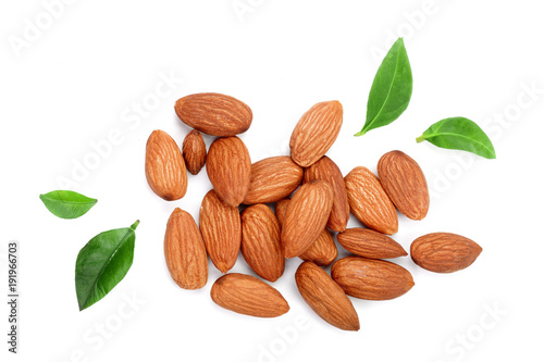 almonds with leaves isolated on white background Canvas Print