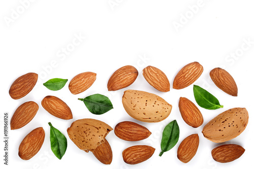 Fotografía  almonds with leaves isolated on white background with copy space for your text