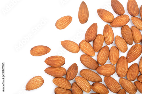 almonds isolated on white background. Top view. Flat lay Canvas Print