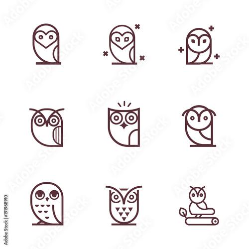 Canvas Prints Owls cartoon Owl outline icons collection. Set of outline owls and emblems design elements for schools, educational signs. Unique illustration for design.