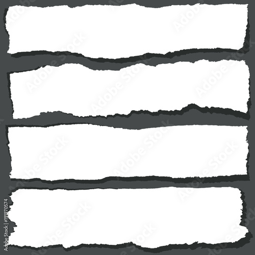 Obraz Torn paper ribbons with jagged edges. Abstract grange paper sheets vector set - fototapety do salonu