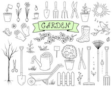 Hand Drawn Garden Tools Set