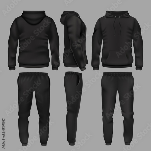 Obraz na plátně Black man sportswear hoodie and trousers vector mockup isolated