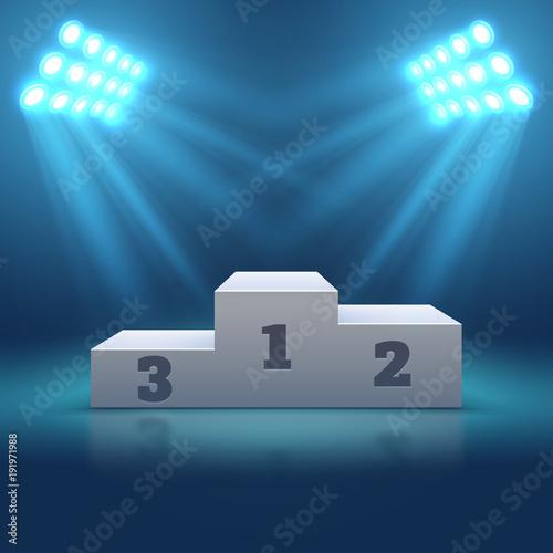 Sports winner empty podium illuminated by searchlights vector illustration Fototapet