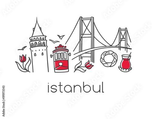 Modern vector illustration Istanbul with hand drawn doodle turkish symbols: Bosphorus bridge, tea glass, simit bagel, Galata tower, tulip, tram Poster