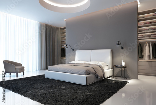 Fotografia  Modern grey and white bedroom with walk in closet