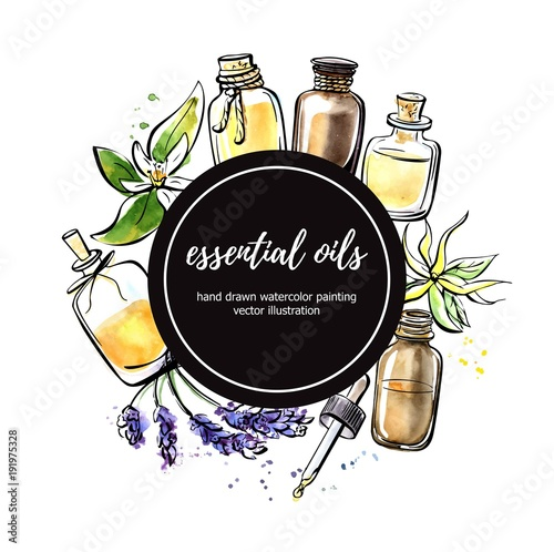 Fototapeta Vector illustration with essential oil bottles, flower and plant. Hand drawn elements in circle composition with black round label and place for your text. Isolated black outline and colorful stains. obraz