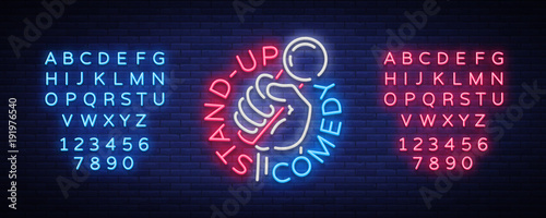 Fotografia  Comedy Show Stand Up invitation is a neon sign