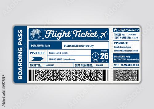 Fotografía  Vector image of airline boarding pass ticket. Vector illustration