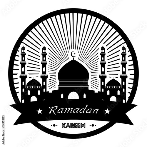 Black moon with mosque with sun rays sticker design on white background vector illustration happy