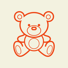 Teddy Bear Vector Line Illustration