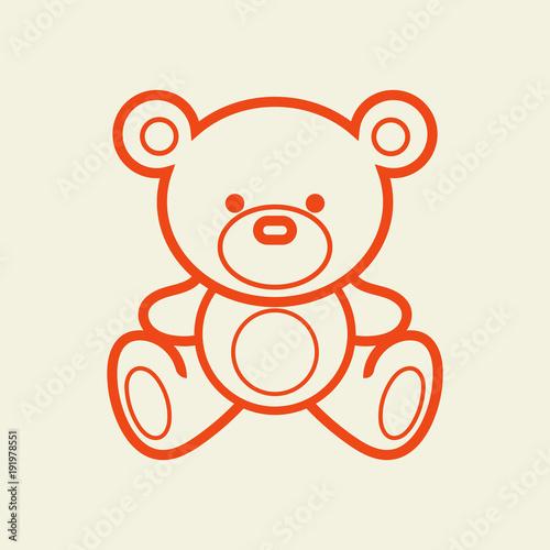 Fotografia, Obraz Teddy bear vector line illustration