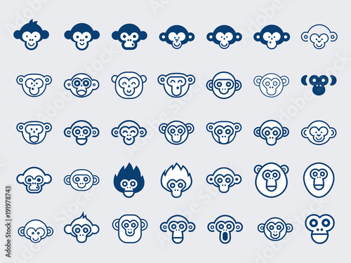 Fotografie, Obraz  Big Vector Set of Monkey Icons.Outline and Glyphs