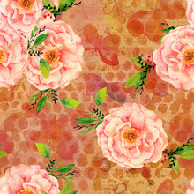 Seamless Pattern With Pink Watercolor Roses, Faded Butterflies And Music