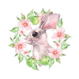 Rabbit and floral wreath. Watercolor illustration - 191979784