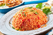 Healthy Nutritious Plate Of Greek Tomato Rice
