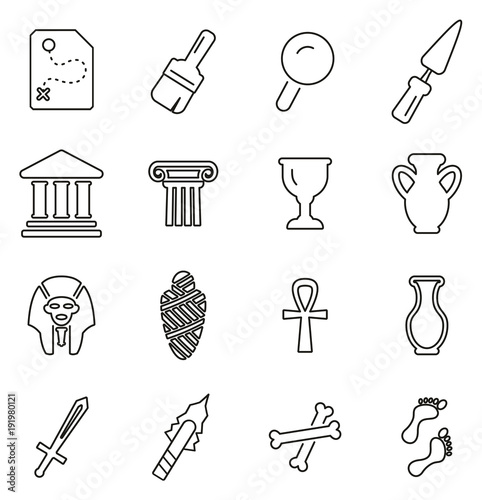 Archaeology Artifacts & Equipment Icons Thin Line Vector Illustration Set Canvas Print