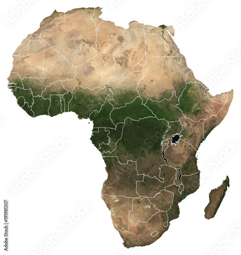 Fototapeta Large (97 MP) isolated satellite image of Africa with country borders. African continent from space. Detailed map of Africa in orthographic projection. Elements of this image furnished by NASA. obraz