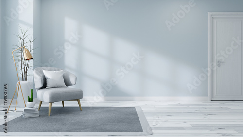 Fotografia, Obraz  Scandinavian interior of living room concept, light gray sofa with gold lamp on