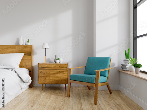 Modern mid Century and vintage interior of bedroom ,blue ...