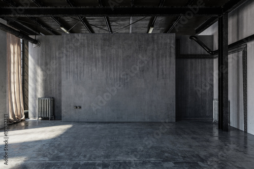 Empty concrete warehouse room with windows Canvas Print