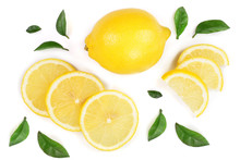 Lemon And Slices With Leaf Iso...