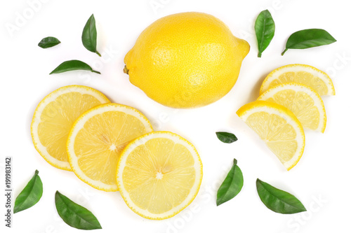 Tela lemon and slices with leaf isolated on white background