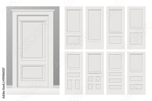 Valokuva Vector white painted interior wooden doors set in flat style