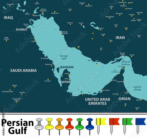 Fotografie, Tablou Map of Persian Gulf
