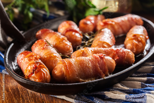 Obraz Pigs in blankets in baking dish - fototapety do salonu