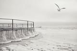 Zamarznięte morze i żelazne okrągłe molo w kry. lodowa zimowa przestrzeń morza. Minimalizm. Monotonia, czarno-biały, - 191988768