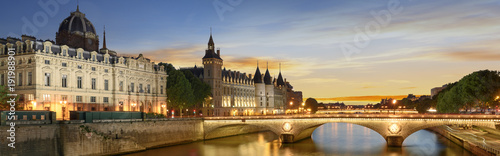Fotobehang Parijs Boat tour on Seine river in Paris with sunset. Paris, France