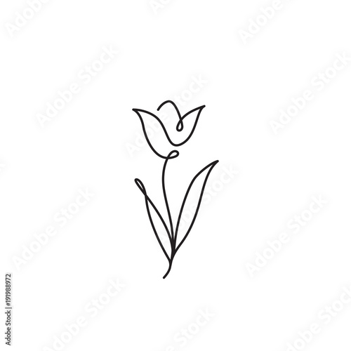 Tulip outline icon Canvas Print