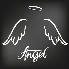 Angel Wings Icon Sketch Collection, Religious Calligraphic Text Symbol Of Christianity Hand Drawn Vector Illustration Sketch, Drawn In Chalk On A Black Board
