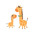 Cartoon animal family portrait. Father giraffe with green bow-tie and his funny baby. Happy parent and child. Flat vector design for postcard or book