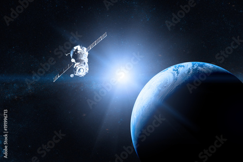 Obraz Blue planet Earth. Spacecraft launch into space. Elements of this image furnished by NASA. - fototapety do salonu