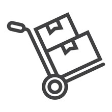Hand Truck With Cardboard Boxes Line Icon, Logistic And Delivery, Hand Dolly Sign Vector Graphics, A Linear Pattern On A White Background, Eps 10.