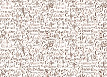 Coffee Seamless Pattern With Coffee Words