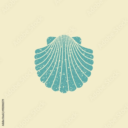 Foto Sea shell. Flat vintage icon