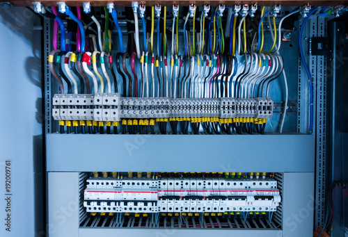 electrical switchboard, wire, automat - Buy this stock photo ... on
