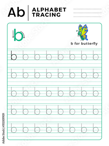 Letter B Alphabet Tracing Book With Example And Funny Butterfly
