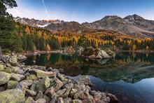 Goldener Herbst Am Lago Di Saoseo Im Val Di Campo, Poschiavo, Schweiz