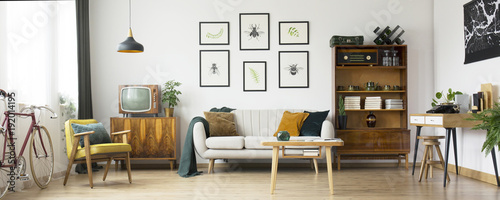 Obraz Retro living room design - fototapety do salonu