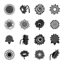 Sunflower Blossom Icons Set. Simple Illustration Of 16 Sunflower Blossom Vector Icons For Web