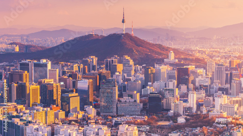 Sunset of Seoul City Skyline, South Korea. Wallpaper Mural
