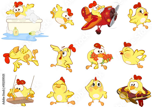 In de dag Babykamer Set of Cute Chickens in Different Poses for you Design. Cartoon Character