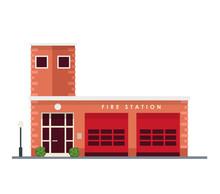 Fire Station - Vector Illustra...