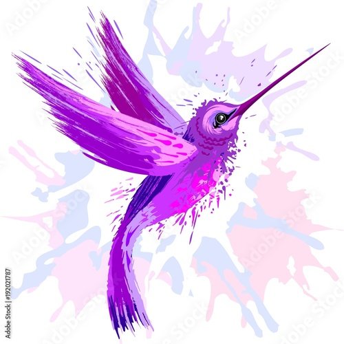 Spoed Foto op Canvas Draw Hummingbird Spirit Purple Watercolor