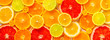 canvas print picture - beautiful fresh sliced mixed citrus fruits like background, concept of healthy eating, dieting, top view